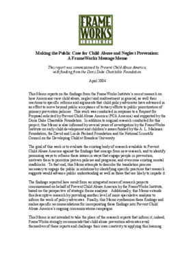 Making the Public Case for Child Abuse and Neglect Prevention: A FrameWorks Message Memo