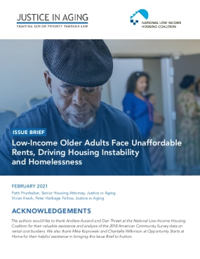 Issue Brief: Low-Income Older Adults Face Unaffordable Rents, Driving Housing Instability and Homelessness