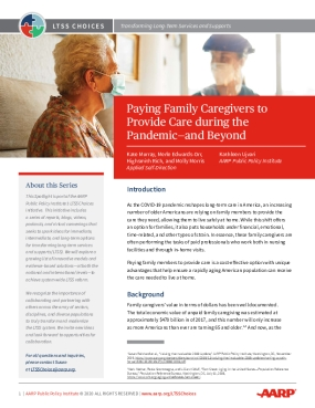 Paying Family Caregivers to Provide Care during the Pandemic- and Beyond